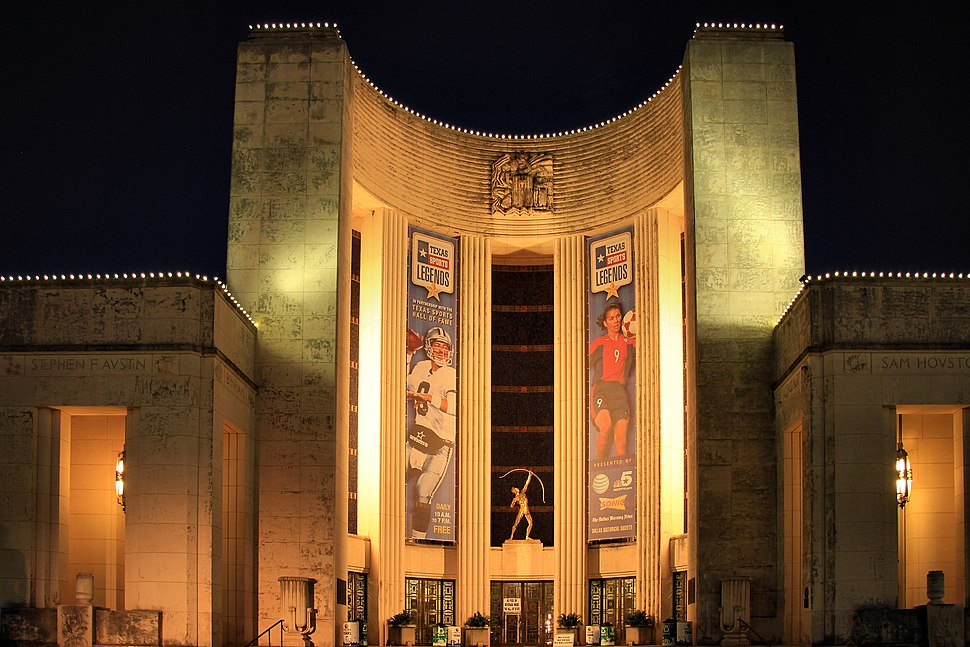 Dallas Fair Park Hall of State at night 2014