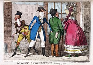 """George Moutard Woodward - """"DANDY PICKPOCKETS DIVING"""": Scene Near St. James Palace"""", published in The Caricature Magazine, or Hudibrastic Mirror, by G.M. Woodward"""