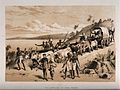 David Livingstone arriving at Lake Ngami in 1849. Lithograph Wellcome V0018844.jpg