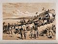 David Livingstone arriving at Lake Ngami in 1849. Lithograph Wellcome V0018844.jpg