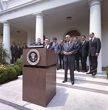 David Rockefeller launches the International Executive Service Corps in the White House Rose Garden, 1964. David Rockefeller Launches IESC in White House Rose Garden in 1964.jpg