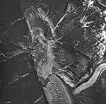 Dawes Glacier, valley glacier terminus and icebergs and calving debris in the water, August 24, 1963 (GLACIERS 5377).jpg