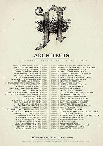 """One Hundred Days: The Story of Architects Almost World Tour - This is the tour poster- created by Architects and publicly posted on the internet- displaying all of the band's tour schedule for the """"Daybreaker Almost world tour""""."""