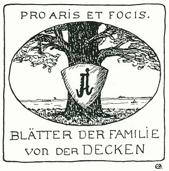 Von der Decken family - Oak tree with coat of arms on the title of the Yearly Family News. Pro Aris et Focis is the heraldic motto.