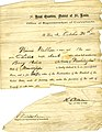 Declaration of emancipation for Winnie Walker, Head Quarters, District of St. Louis, Office of Superintendent of Contrabands, October 26, 1863.jpg