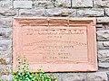 Dedication plaque on Old Salvation Army Drill Hall, Abergavenny, October 2018.jpg