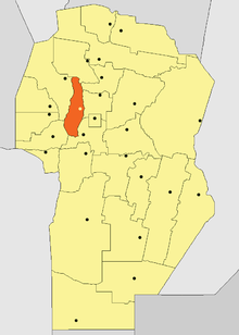 Location of Punilla Department in Córdoba Province