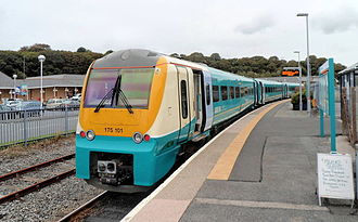 Milford Haven railway station - An Arriva Trains Wales service waiting to depart for Cardiff Central
