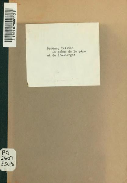 File:Derème - Le Poème de la pipe et de l'escargot, 1920.djvu