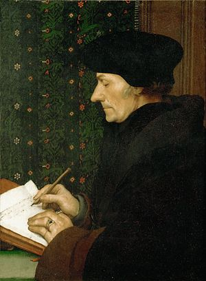 Portrait of Erasmus of Rotterdam - The Louvre, 1523