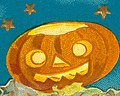 """Detail, """"A Thrilling Hallowe'en."""" (Three black cats flying through the air with Jack-o-lanterns) (cropped).jpg"""