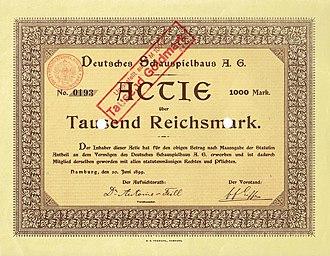 Deutsches Schauspielhaus - Founder share of the Deutsches Schauspielhaus AG, issued 20. June 1899
