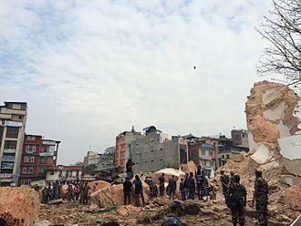 Dharahara - Image: Dharhara after Nepalquake