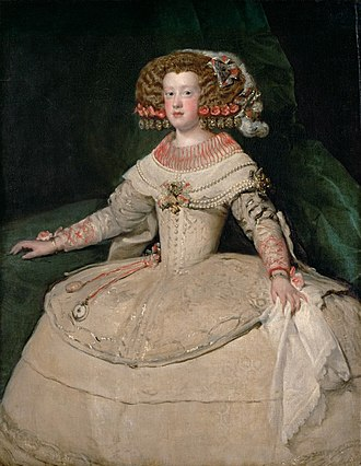 Maria Theresa of Spain - Infanta Maria Theresa by Velázquez, 1653. Her hairstyle and dress with wide panniers were popular in Spain.