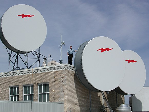Three fixed wireless dishes with protective covers on top of 307 W. 7th Street, Fort Worth, Texas around 2001 Dishes ft worth2.JPG
