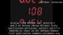 File:Display VSON WP6910 (air detector) - pm2,5 at Verona (Borgo Milano) Italy - (particulate pollution, polveri sottili) - 2020 01 15 (hour 22.35) OUTdoor & INdoor (HEPA H13) - first publication commons.wikimedia.org.webm