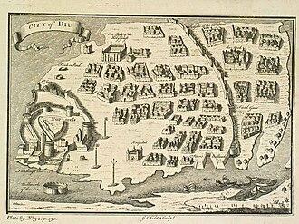 Diu, India - Diu town and the Portuguese fort (British engraving, 1729)