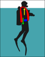 Diver with early jacket BCD at surface.png