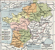 The division of Francia on Clovis' death (511). The kingdoms were not geographic unities because they were formed in an attempt to create equally-sized fiscs. The discrepancy in size reveals the concentration of Roman fiscal lands.