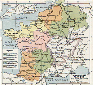 Francia - The division of Francia on Clovis's death (511). The kingdoms were not geographic unities because they were formed in an attempt to create equal-sized fiscs. The discrepancy in size reveals the concentration of Roman fiscal lands.