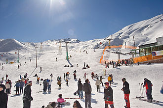 Dizin, Iran's largest ski resort, is located near Tehran. Dizin, Iran.jpeg
