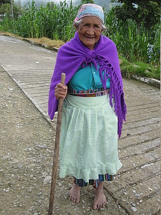 Mam people - Woman of the Mame culture. She lives in Pavencul Ejido, Municipality of Tapachula, Chiapas, Mexico