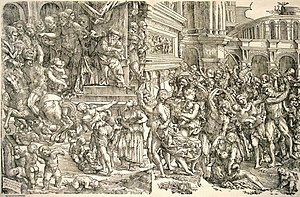 Domenico Campagnola - Massacre of the Innocents, woodcut in two blocks