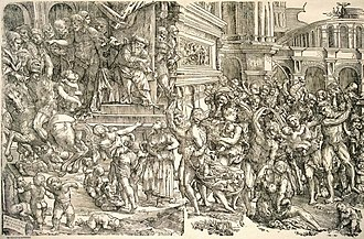 Domenico Campagnola - Massacre of the Innocents, woodcut in two blocks