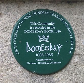 In 1986, memorial plaques were installed in settlements mentioned in Domesday Book Domesday plaque.JPG