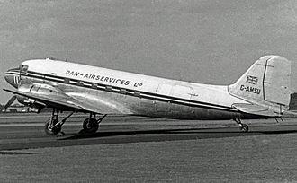 Dan-Air - The airline's first aircraft G-AMSU, a Douglas<br>C-47B Dakota 4 at Blackbushe Airport in 1955 wearing the initial Dan-Air Services titles.