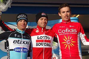 2015 UCI Europe Tour - Le Samyn podium: Gianni Meersman (2nd), Kris Boeckmans (1st) and Christophe Laporte (3rd).