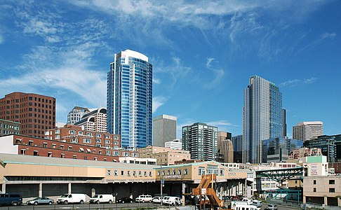 View on Downtown Seattle, including Fifteen Twenty-One Second Avenue, from the Victor Steinbrueck Park near Pike Place Market.