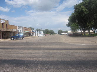 Vega, Texas - Downtown Vega, with courthouse to the right and City Hall to the left