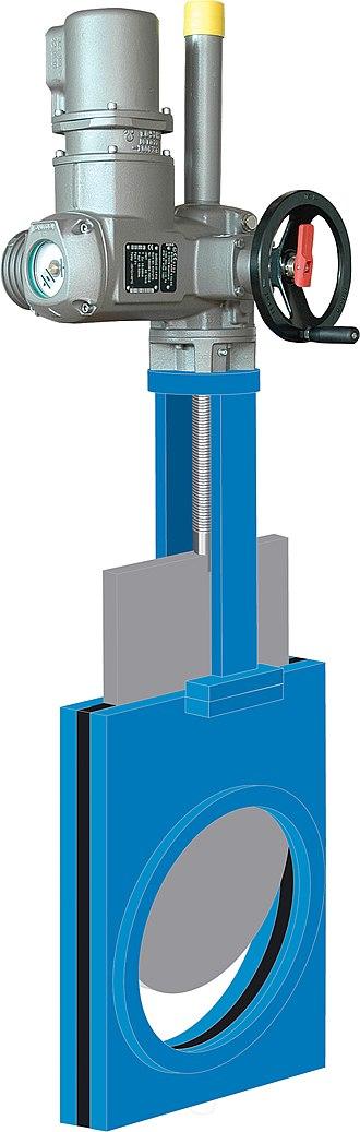 Gate valve - An electric multi-turn actuator on a gate valve