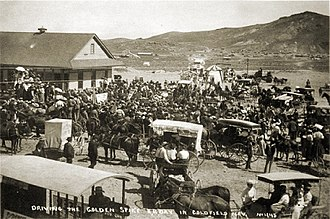 Bullfrog Goldfield Railroad - Driving the golden spike at Goldfield, Nevada, circa 1905.