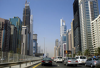 E 11 road (United Arab Emirates) - Skyscrapers on Sheikh Zayed Road in May 2006