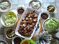Dwaeji bulgogi with ssamjang and kimchi.jpg