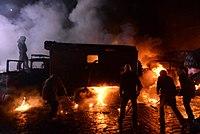 Dynamivska str barricades on fire. Euromaidan Protests. Events of Jan 19, 2014-9.jpg