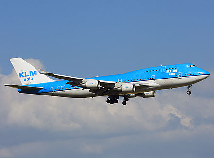 PH-BFC, one of the Boeing 747-400s that served KLM Asia from 1995 until 2012 when it was repainted in the original KLM livery. The same aircraft, which was in service with KLM from 1989 until its retirement on March 14, 2018, is also notorious for the Flight 867 incident. EHAM18072010 PH-BFC KLM (4806800714).jpg