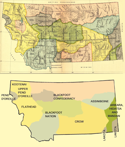 Early Indian treaty territories in Montana Early Indian treaty territories in Montana.png