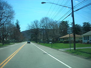 New York State Route 427 - Eastbound on NY 427 just south of Cedar Street in Southport