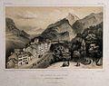 Eaux-Bonnes, Basses Pyrénées, France. Coloured lithograph by Wellcome V0012565.jpg