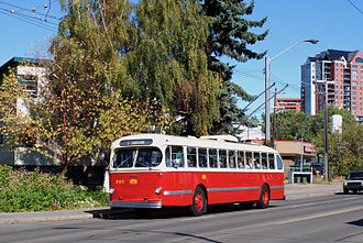 Trolley buses in Edmonton - Preserved CCF-Brill T48A trolley bus, September 2008.