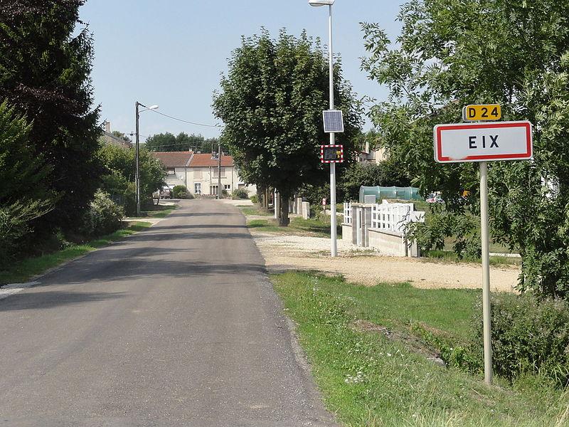 Eix (Meuse) city limit sign