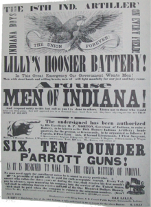 Eli Lilly Battery American Civil War recruitment poster.png