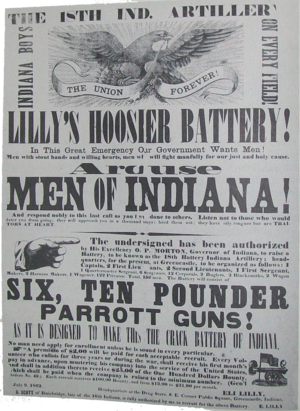18th Independent Battery Indiana Light Artillery - A recruitment poster for the 18th Battery