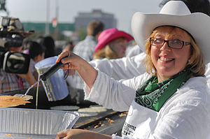 Pancake breakfast - Green Party of Canada leader Elizabeth May at a 2008 Calgary Stampede pancake breakfast