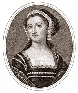 Elizabeth Montagu - Elizabeth Montagu, as Anne Boleyn, black and white reproduction of a miniature by Christian Friedrich Zincke, in a friendship box, circa 1740.