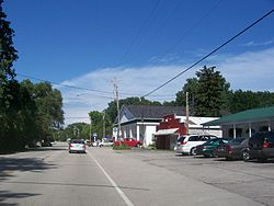 Looking north at downtown Ellison Bay on WIS 42