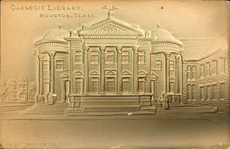 Paper embossing - An embossed postcard, Carnegie Library, Houston, Texas (circa 1900-1924).